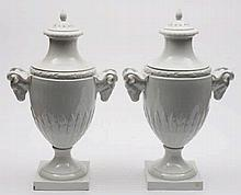 A pair of large Furstenburg white porcelain vases