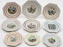 A group of nine 'Robinson Crusoe' child's plates: