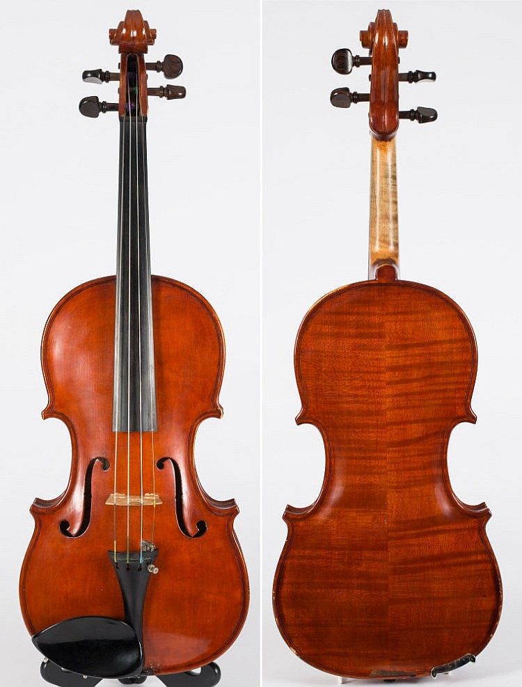 A modern violin by Joseph K Edson, Sidmouth:, the two piece