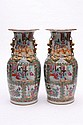 A pair of Cantonese porcelain vases: of oviform