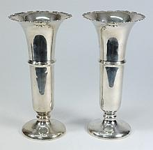 A pair of George V silver vases, maker W. N. Ltd,