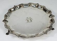 An Edward VII silver waiter, maker Elkington & Co,