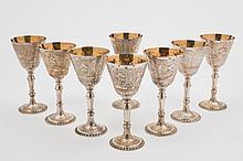 A set of eight Elizabeth II silver wine goblets in