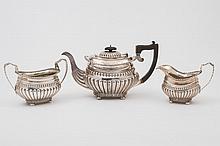 An Edward VII silver three piece tea-service,