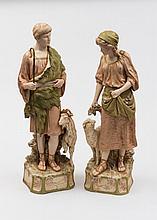 A pair of Royal Dux Bohemia porcelain figures of a