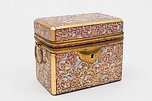 A late 19th century Bohemian pink glass casket