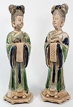 Two Chinese pottery female tomb attendants: each