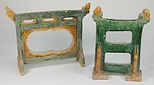 Two Chinese pottery screens or pickets: of pierced