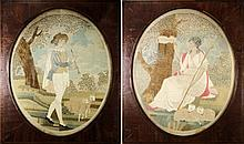 A pair of early Regency silkwork pictures: