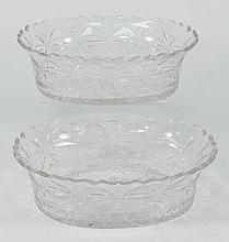 A pair of cut glass serving dishes: each of oval