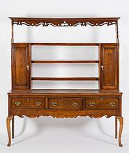 An 18th Century oak dresser:, the shelved