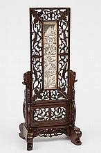A Chinese ivory and wood table top screen: of