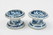 A pair of Chinese blue and white trencher salts: