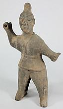 A Chinese pottery figure of a warrior: of grey
