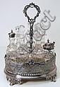 An Edwardian plated seven division cruet stand, of