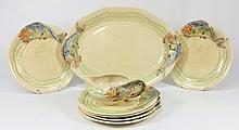 A Clarice Cliff fish service of six plates, oval