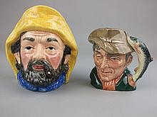 Two character jugs Fisherman and Poacher:, by