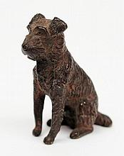 A cold painted bronze of a seated Terrier:, 4.5cm