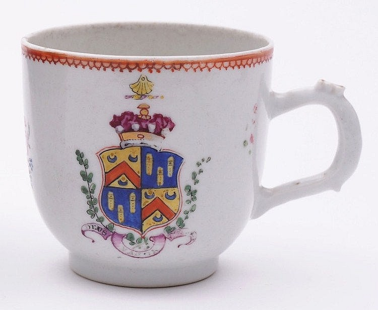 A Chinese famille rose armorial coffee cup of