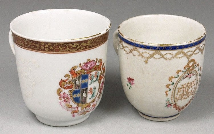 A Chinese famille rose armorial coffee cup with