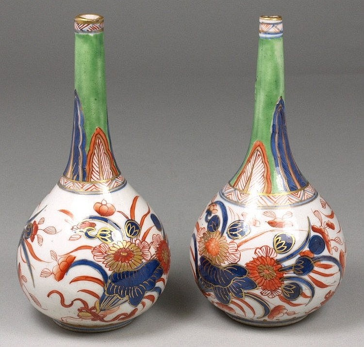 A pair of Chinese Imari porcelain rose water