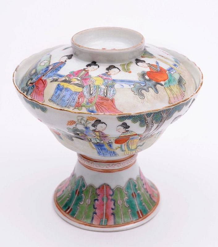 A Chinese porcelain pedestal bowl and cover the