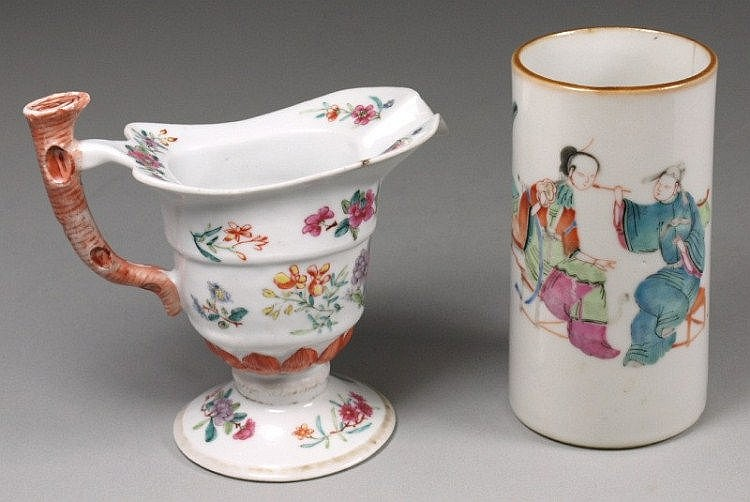 A Chinese famille rose 'monk's cap' cream jug with