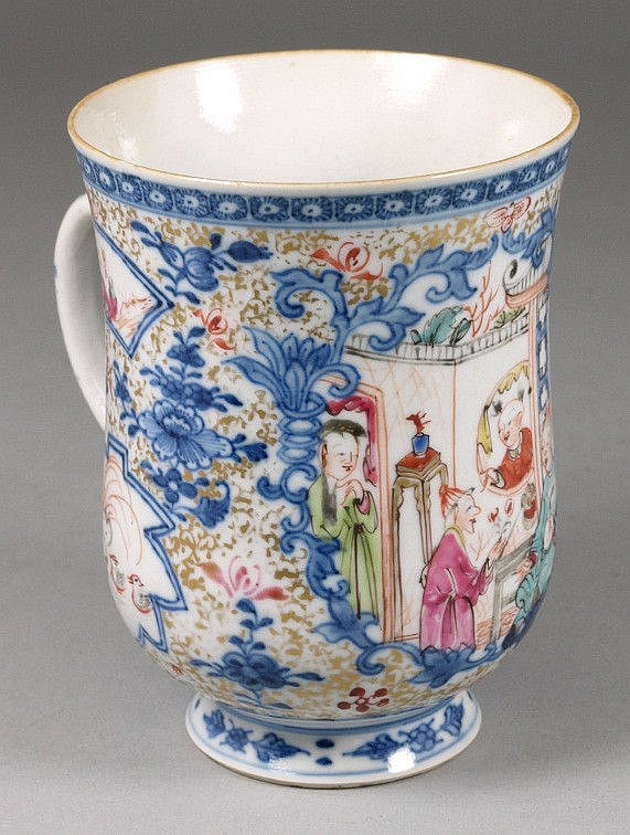 A Chinese famille rose export mug of bell shape