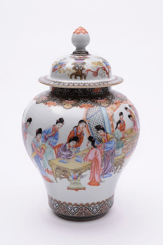 A Chinese porcelain baluster jar and domed cover