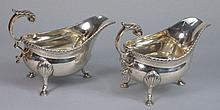 A pair of George V silver sauce boats, maker James