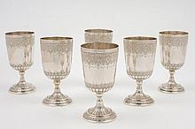 A set of six Iranian silver goblets: the bowls