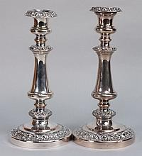 A pair of Sheffield plated candlesticks:, plain