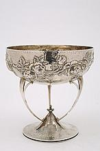 An Arts & Crafts embossed silver bowl, maker