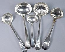 A George III silver bead edge sauce ladle by
