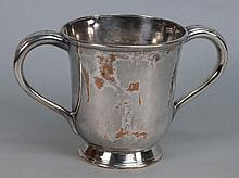 A Sheffield plated loving cup:, bears indistinct