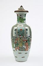 A Chinese famille verte vase: of tapering baluster