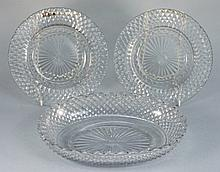 A Waterford glass oval dish and pair of circular