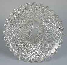 A Waterford glass plate: with notched rim the