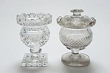Two Waterford glass jars and one cover: one with