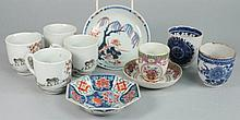 A set of four Chinese coffee cups and six other