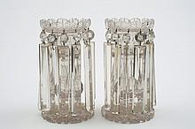 A pair of 19th century cut glass lustres: each