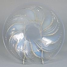 A Lalique opalescent glass bowl: with moulded