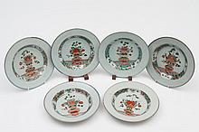 A set of six Chinese famille verte deep plates: