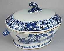 A Chinese blue and white tureen and matched cover: