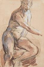 * Duncan Grant [1885-1978]- Male nude:- drawing in charcoal and wash 55 x 3