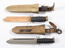 Two Russian diver's knives:, one non-magnetic version with bronze blade and