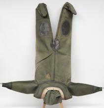 A Russian 12-bolt diving suit in green:, with white rubber collar and green