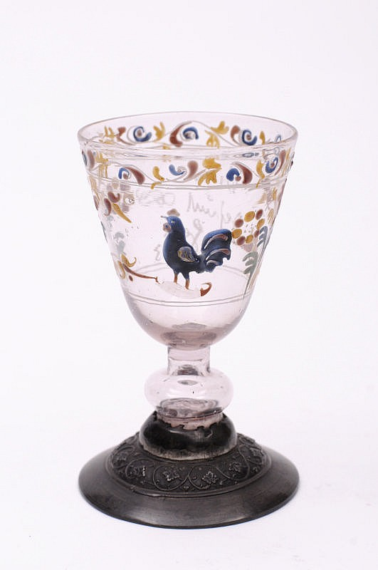 A mid 18th century Bohemian enamelled wine glass