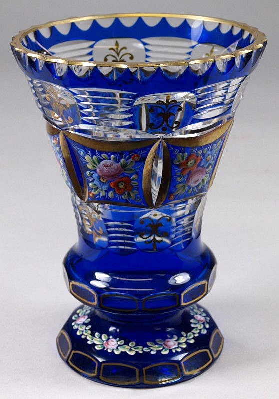 A French overlay glass vase cut with panels of