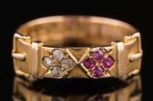 A late Victorian 15ct gold, ruby and diamond buckle ring: with quatrefoil c